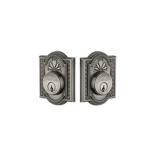 "Grandeur PARPAR_DBLCYL_238  Parthenon Solid Brass Rose Double Cylinder Keyed Entry Deadbolt with 2-3/8"" Backset"