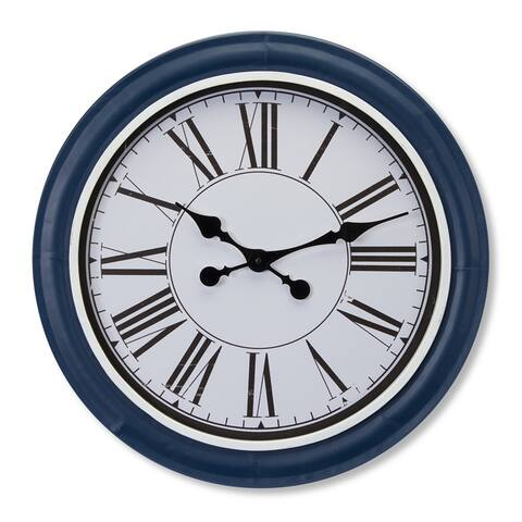 "20.75"" Navy Blue and White Clock"
