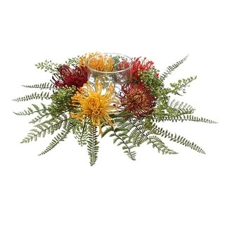 """17"""" Green, Red and Yellow Protea and Fern Artificial Candle Ring with Glass Pillar Holder"""