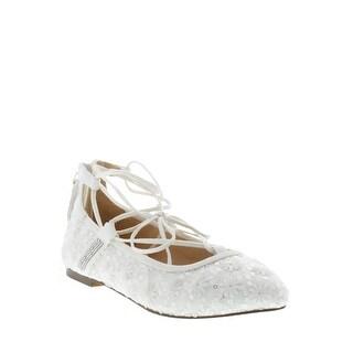 BADGLEY MISCHKA Womens TEERA GHIILLE LACE Almond Toe Ankle Wrap Ballet Flats - 4