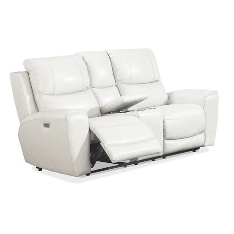 Copper Grove Fyti Top Grain Leather Power Reclining Loveseat with Storage Console
