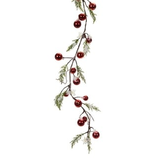 Pack of 4 5' Battery Operated Pre-lit Snowy Pine with Red Berries Decorative Christmas Garland