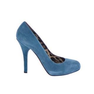 Dolce & Gabbana Blue Suede Leather Leopard Logo Pumps Shoes