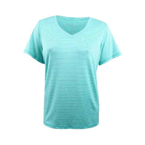 Ideology Women's Striped V-Neck T-Shirt Laguna Size Small - Turquoise