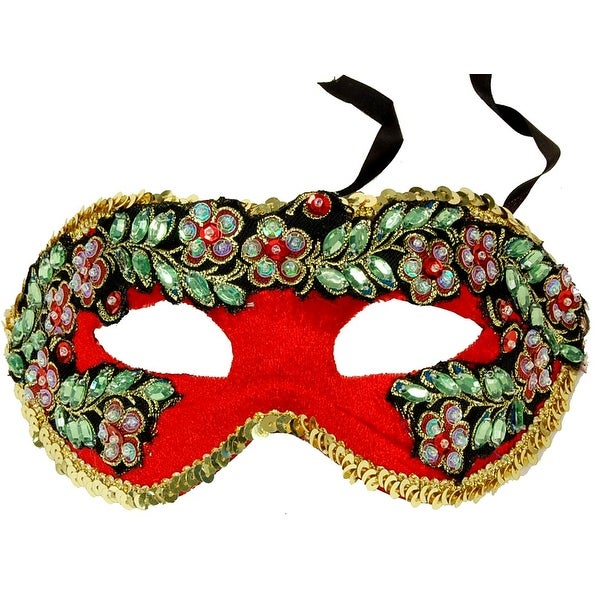 Princess Floral Adult Costume Mask Style D - Red