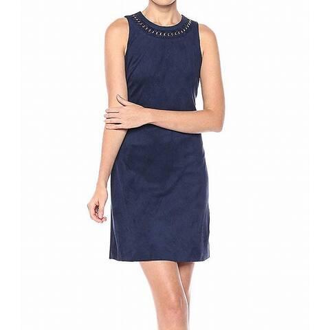 Jessica Simpson Navy Blue Womens Size 6 Chain Necklace Sheath Dress