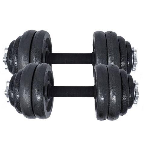 ALEKO Cast Iron 66 lbs (30 kg) Adjustable Dumbbell Set for Home Gym Black