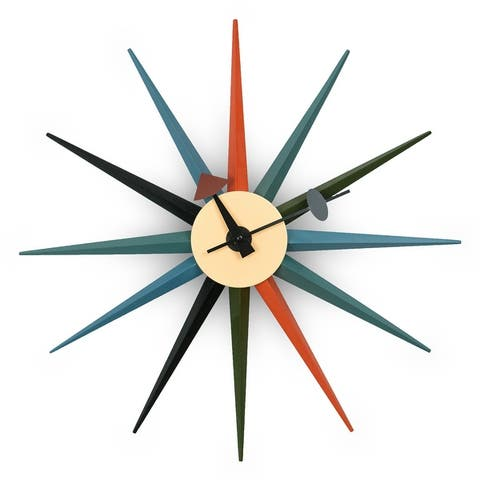 LeisureMod Maxi Star Sunburst Silent Non-Ticking Wall Clock