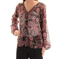 INC Womens Black Paisley Long Sleeve V Neck Top  Size: XS