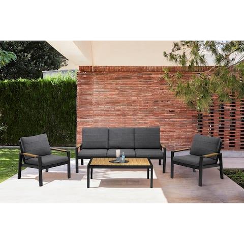 Panama Outdoor 4 Piece Black Aluminum Sofa Seating Set with Dark Grey Olefin