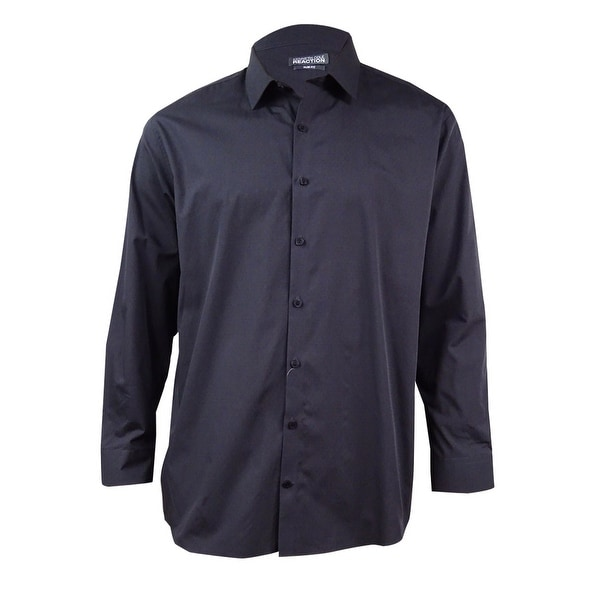 Kenneth Cole Reaction Men's Slim Dobby Dot Dress Shirt (Charcoal, 17.5, 32-33) - Charcoal - 17.5, 32-33