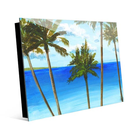 Kathy Ireland Pu'uwai Palm Trees Abstract Seascape on Acrylic Wall Art Print