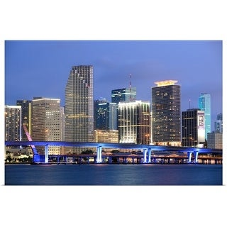 """Skyline of Miami, Florida"" Poster Print"
