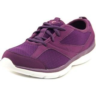 Easy Spirit e360 Quatro Women Round Toe Canvas Burgundy Walking Shoe