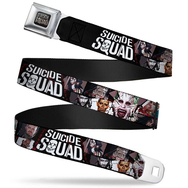 Suicide Squad Logo Full Color Black Gray Suicide Squad 9 Character Faces Seatbelt Belt
