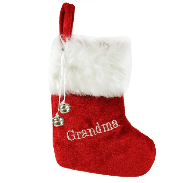 "7"" Red & White ""Grandma"" Embroidered Mini Christmas Tree Stocking"