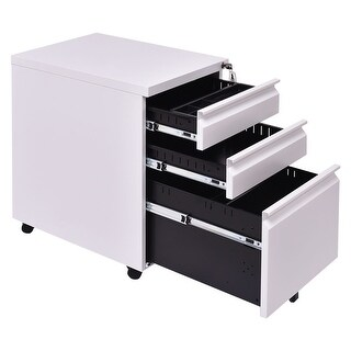Costway White 3 Drawers Rolling Mobile File Pedestal Storage Cabinet Steel Home Office
