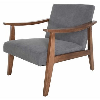 Link to Zenvida Mid Century Modern Accent Armchair Solid Hardwood  Upholstered Similar Items in Living Room Chairs