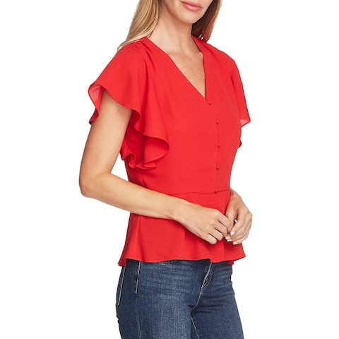 Vince Camuto Womens Peplum Top V-Neck Button-Down