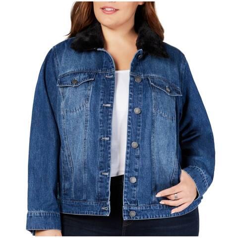 Style & Co. Womens Denim Jacket Blue Size 18W Plus Faux Fur Collar