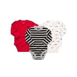 Carter's Baby Boys' 3 Pack Long Sleeve Thermal Trains Bodysuits - Red