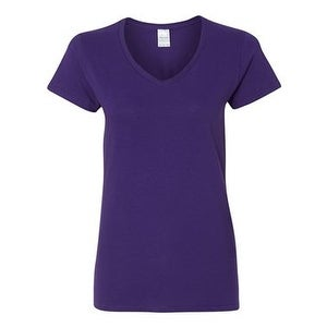 Heavy Cotton Women's V-Neck T-Shirt - Purple - XL