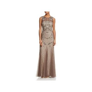Adrianna Papell Womens Evening Dress Beaded Floral Lattice