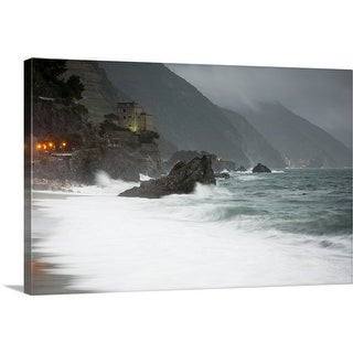 """""""Stormy seascape looking to the lights of Vernazza from Monterosso al Mare"""" Canvas Wall Art"""
