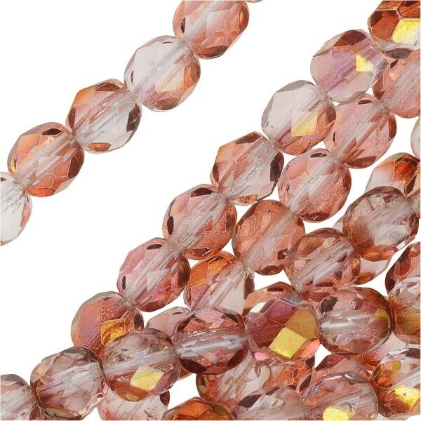 Czech Fire Polished Glass Beads 6mm Round Lumi Coated - Rose (25)