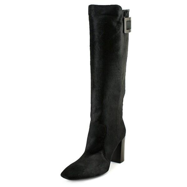Roger Vivier Botte Peppy T.85 Women Square Toe Leather Black Knee High Boot