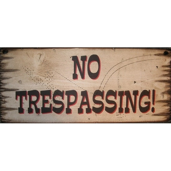 Cowboy Signs Wood Wall Hanging No Trespassing White Black Red