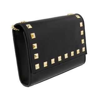 Scheilan  Black Leather Studded Flap  Shoulder Bag - 8.5-6-2.5