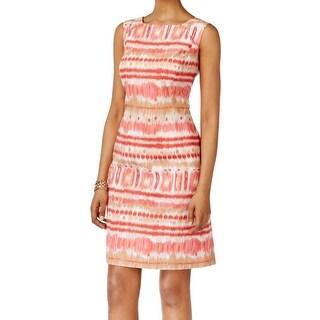 Tahari By ASL NEW Pink Women's Size 12 Ikat Striped Print Sheath Dress