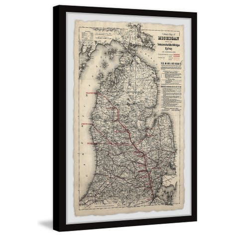 'Vintage Michigan Map' Framed Painting Print