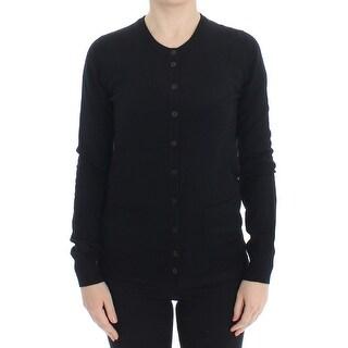Dolce & Gabbana Black Wool Button Cardigan Sweater Top