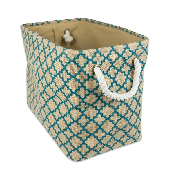 """14"""" Brown and Teal Burlap Rectangular Small Bin with Rope Handles - N/A"""
