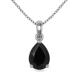 Pear Shaped Black Onyx Solitaire Pendant Necklace in Silver(10mm Black Onyx)