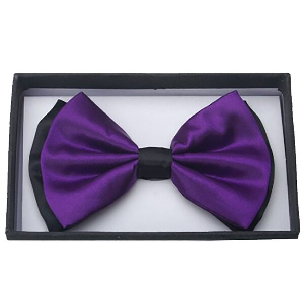 New men/'s self tie free style bowtie paisley poly formal wedding dark purple