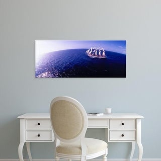 Easy Art Prints Panoramic Images's 'Tall ship in the sea, Puerto Rico, USA' Premium Canvas Art