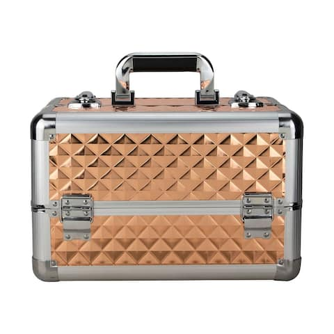 Justcase Rose Gold Diamond 4 Extendable Trays Makeup Case with Divider