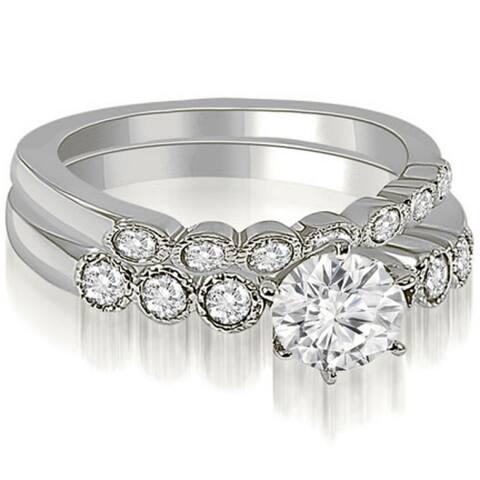 0.91 CT Vintage Milgrain Round Cut Diamond Bridal Set in 14KT Gold - White H-I