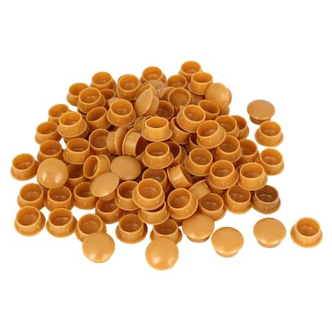 15mm Diameter Hole Yellow Plastic Press On Furniture Screw Cap Covers 100 Pcs