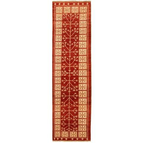 ECARPETGALLERY Hand-knotted Peshawar Ziegler Dark Red Wool Rug - 2'6 x 9'8