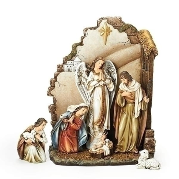 "Joseph's Studio 7-Piece Religious Christmas Nativity Set with Backdrop 12"" - brown"