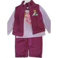 Disney Baby Girls Purple Tinker Bell Printed Vest 3 Pc Pants Set 12-24M