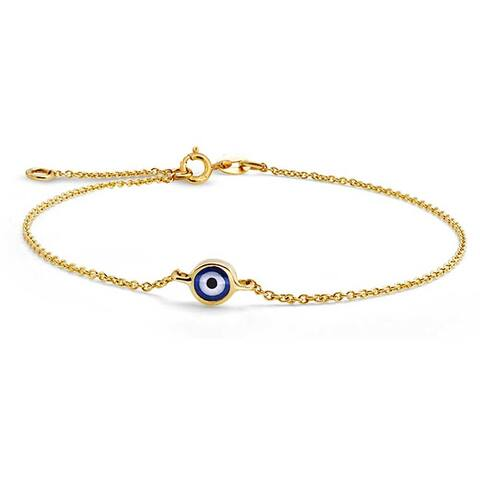Turkish 14K Real Yellow Gold Delicate Blue Evil Eye Charm Link Bracelet For Teens For Women With Extender 6.5-7.5 Inch