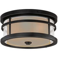 Vaxcel Lighting T0090 Cadiz 2 Light Flush Mount Outdoor Ceiling Fixture with Cream Frosted Glass Shade - 12 Inches Wide