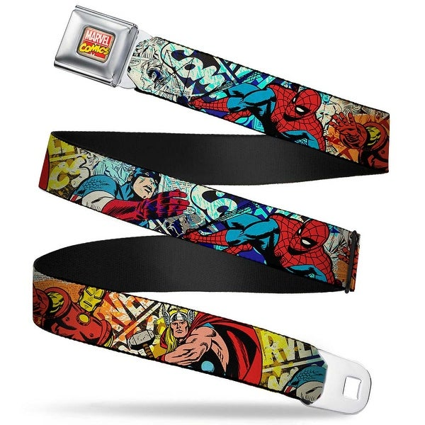 Marvel Comics Marvel Comics Logo Full Color 4 Superhero Action Poses Comic Seatbelt Belt