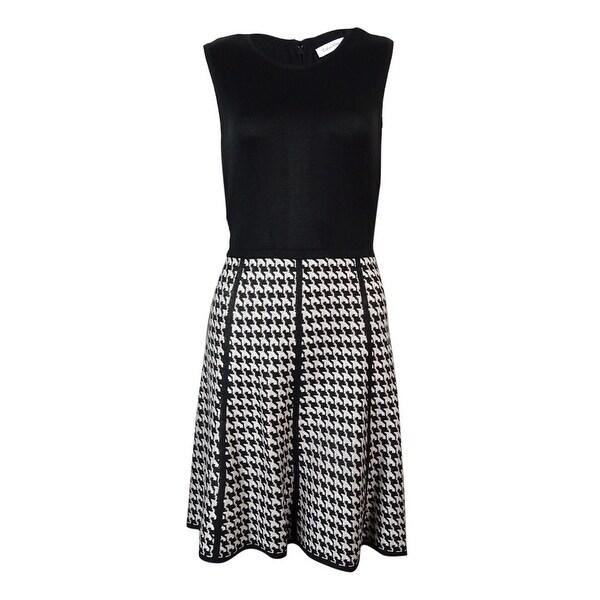 680001946d4805 Calvin Klein Women  x27 s Sleeveless Houndstooth Sweater Dress -  Black Eggshell