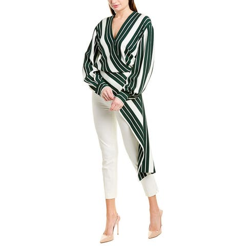 Oscar De La Renta Sashed Striped Blouse